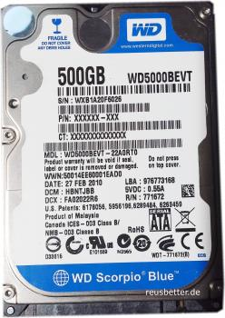 Western Digital WD Scorpio Blue 500 GB WD500BEVT