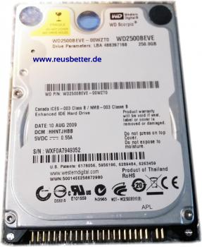 Western Digital WD Scorpio WD2500B EVE 250 GB,Intern, 5400RPM,6,35 cm 2,5 Zoll