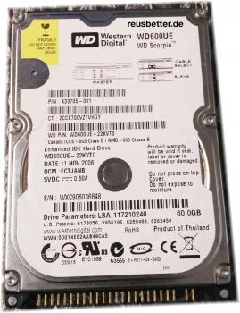 Western Digital Notebook Festplatte | WD600UE-22KVT0 | 60GB | 2,5 IDE