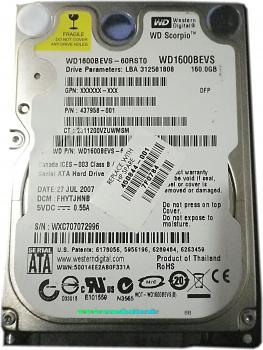 Western Digital Laptop Festplatte |160GB | WD1600BEVS - 60RST0